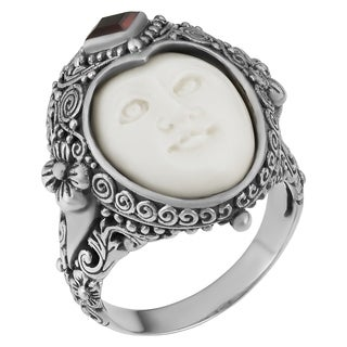 Handmade Sterling Silver Garnet 'Moon' Princess Ring (Indonesia)