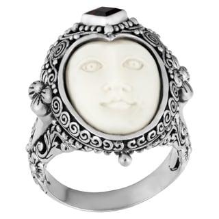 Handmade Sterling Silver Garnet 'Moon' Princess Ring (Indonesia)