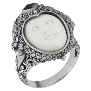 Sterling Silver Garnet Moon Princess Ring (Indonesia) - WHITE