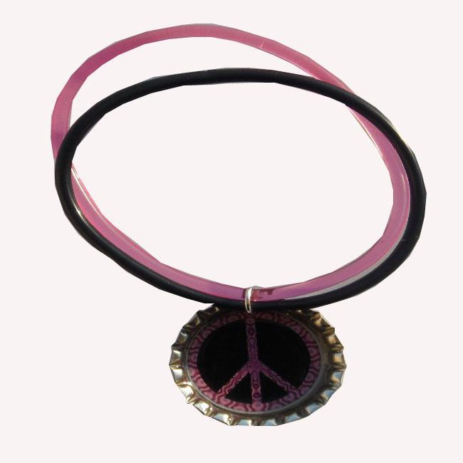 Peace Sign Bottle Cap Charm Bracelet