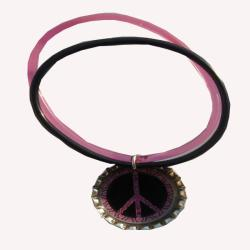 Peace Sign Bottle Cap Charm Bracelet