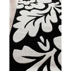 nuLOOM Handmade Pino Collection Black/ White Floral Rug (7'6 x 9'6)
