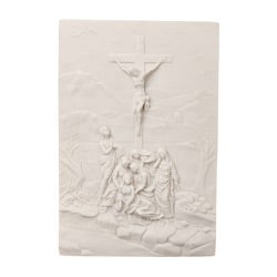 White Bonded Marble The Crucifixion Wall Relief