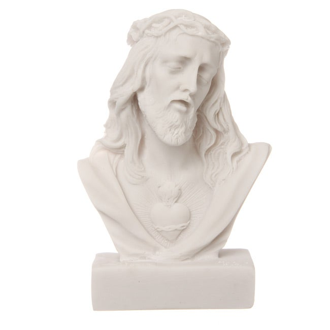 White Bonded Marble Face of Christ Fallen Bust - Thumbnail 0