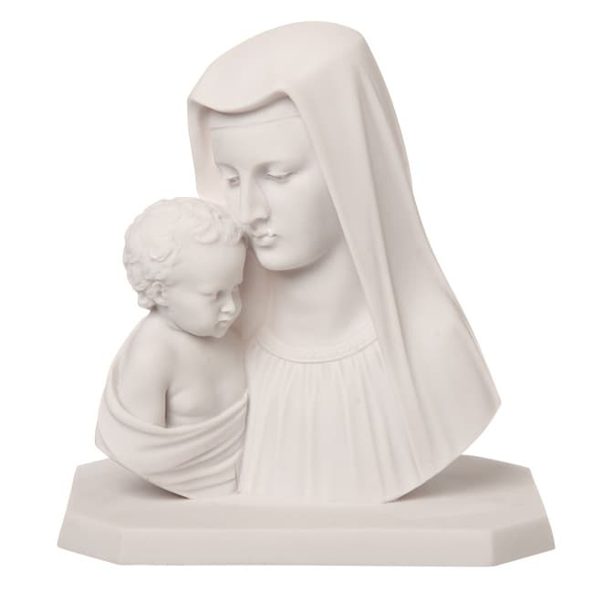 11 Inch High White Bonded Marble Virgin Mary With Baby