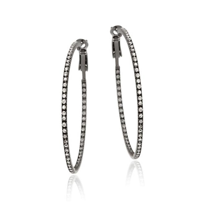 Icz Stonez Black Rhodium over Silver Cubic Zircoina Hoop Earrings