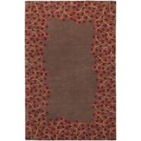 Hand-tufted Whimsy Chocolate Wool Area Rug - 5' x 8'