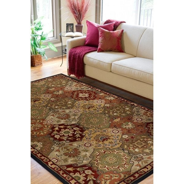 Hand Tufted Agra Red Gold Wool Rug 8 Round: Hand-tufted Coliseum Red Wool Area Rug (8' X 11')