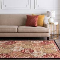 Hand-tufted Coliseum Red Wool Area Rug - 5' x 8'