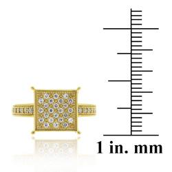 Icz Stonez 18k Gold over Sterling Silver Round Micro Pave Cubic Zirconia Square Ring - Thumbnail 2