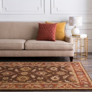Hand-tufted Coliseum Brown Floral Border Wool Rug (8' X 11')