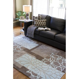 Hand-tufted Retro Chic Grey Floral Squares Rug (8' x 11')