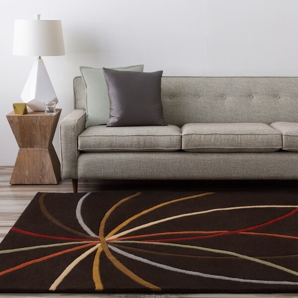 Hand-tufted Black Contemporary Mayflower Wool Abstract Area Rug - 5' x 8'