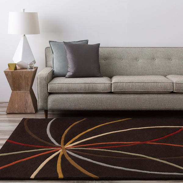 Hand-tufted Black Contemporary Mayflower Wool Abstract Rug (5' x 8')