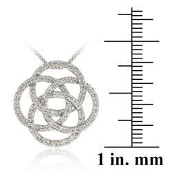 Icz Stonez Sterling Silver Cubic Zirconia Interlocking Circle Necklace
