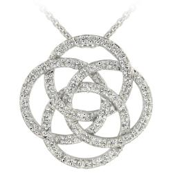 Icz Stonez Sterling Silver Cubic Zirconia Interlocking Circle Necklace