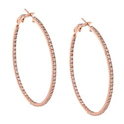 Icz Stonez Rose Gold over Sterling Silver Cubic Zirconia Large Hoop Earrings