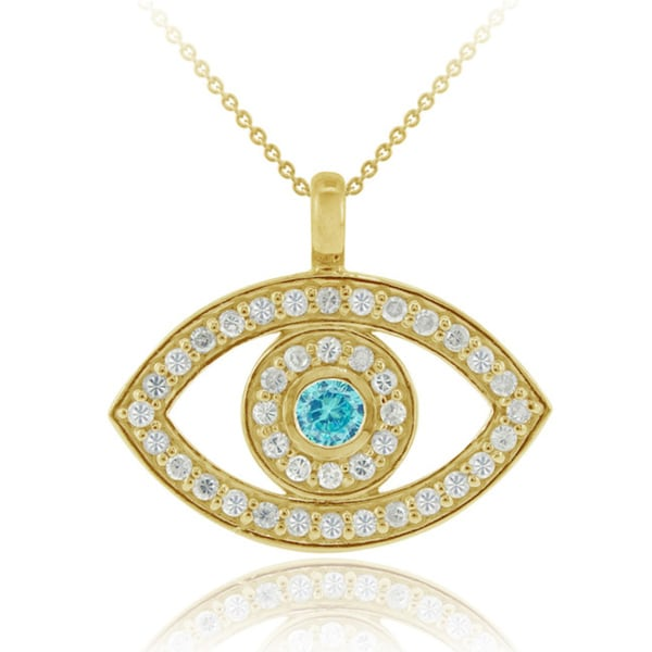 Icz Stonez 18k Gold over Sterling Silver Blue Cubic Zirconia Evil Eye Necklace