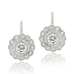 Icz Stonez Sterling Silver Cubic Zirconia Flower Leverback Earrings