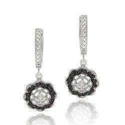 DB Designs Sterling Silver 1/3ct TDW Black Diamond Flower Dangle Earrings