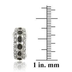 DB Designs Sterling Silver 1/6ct TDW Black Diamond Half Hoop Earrings