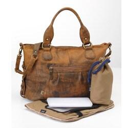 OiOi Jungle Leather Slouch Tote Diaper Bag