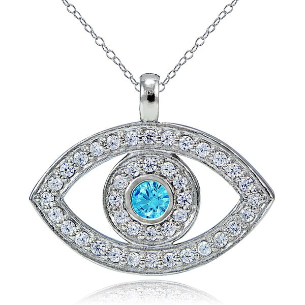 Icz Stonez Sterling Silver Aquamarine Cubic Zirconia Evil Eye Necklace