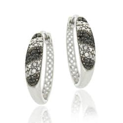 DB Designs Sterling Silver Black Diamond Accent Stripe Hoop Earrings