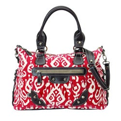 OiOi Red Ikat 100 Percent Organic Cotton Canvas Slouch Tote Diaper Bag