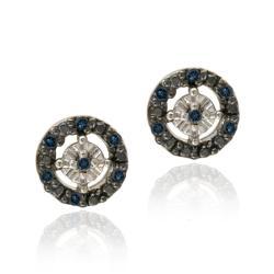 DB Designs Sterling Silver 1/8ct TDW Blue Diamond Earrings