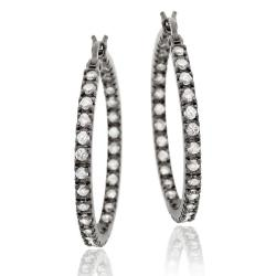 Icz Stonez Black Rhodium over Sterling Silver Cubic Zirconia Hoop Earrings