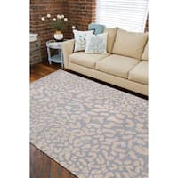 Hand-tufted Pale Blue Leopard Whimsy Animal Print Wool Area Rug - 8' x 11'