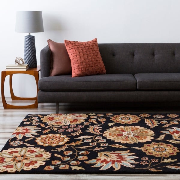 Hand-tufted Whimsy Black Wool Area Rug - 5' x 8'