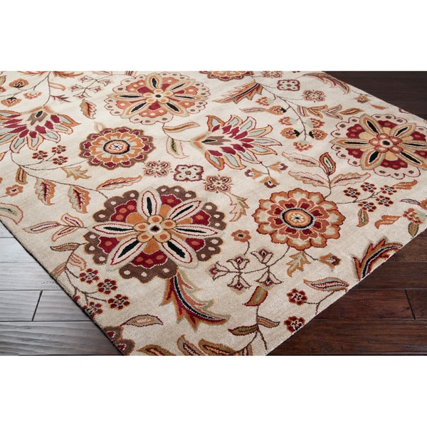 Hand-tufted Whimsy Beige Floral Wool Area Rug (8' x 11')