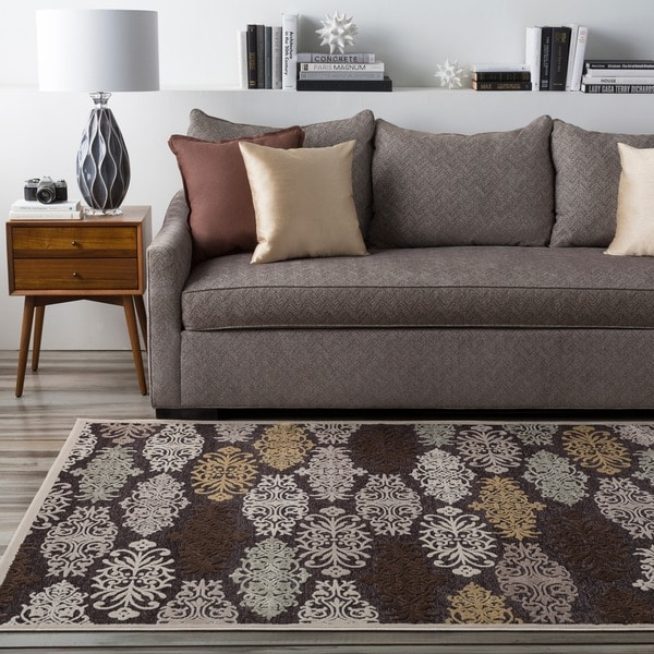Multi Colored Damask Abstract Area Rug (5'2 x 7'6)