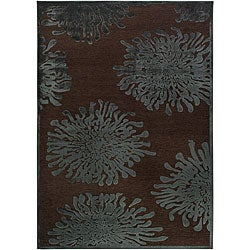 Meticulously Woven Teal/Brown Abstract Rug (5'2 x 7'6)