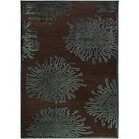 Teal/Brown Abstract Area Rug (5'2 x 7'6)