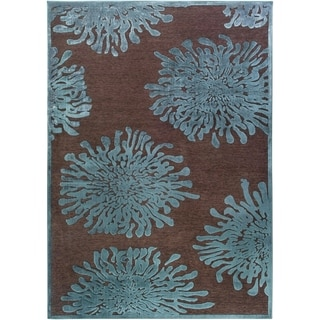 "Teal/Brown Abstract Area Rug - 5'2"" x 7'6"""