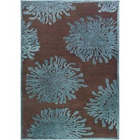 Teal/Brown Abstract Area Rug - 5'2 x 7'6