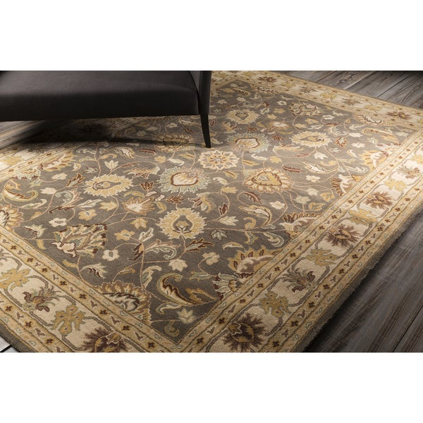 Hand Tufted Agra Red Gold Wool Rug 8 Round: Hand-tufted Coliseum Gray Traditional Border Wool Rug (8