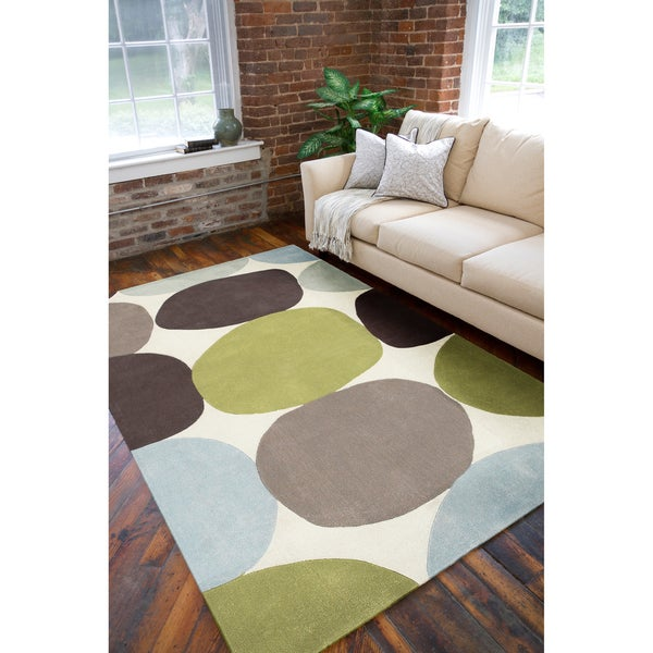 Hand Tufted Contemporary Multi Colored Circles Abstract