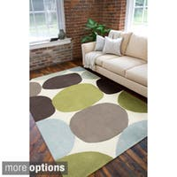 Hand-tufted Contemporary Multi Colored Circles Abstract Area Rug (5' x 8')
