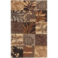 Hand-tufted Brown Floral Area Rug - 5' x 8'