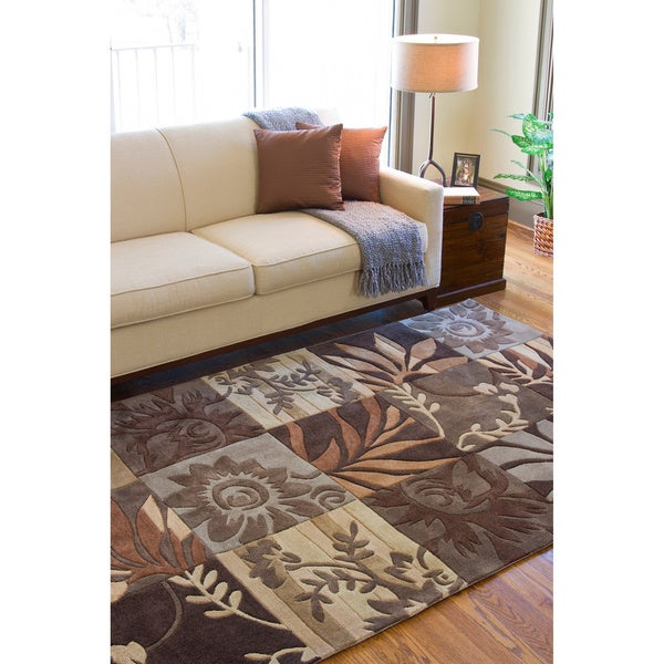Hand-tufted Brown Floral Area Rug (8' x 11')