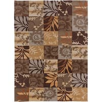 Hand-tufted Brown Floral Area Rug - 8' x 11'