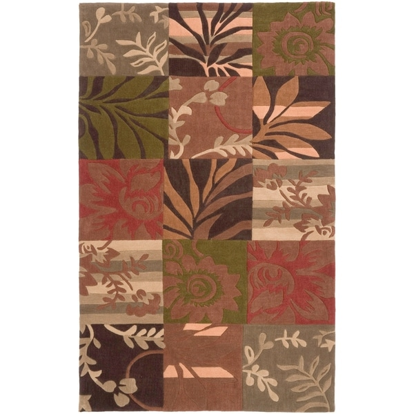 Hand-Tufted Green Transitional Floral Area Rug - 5' x 8'
