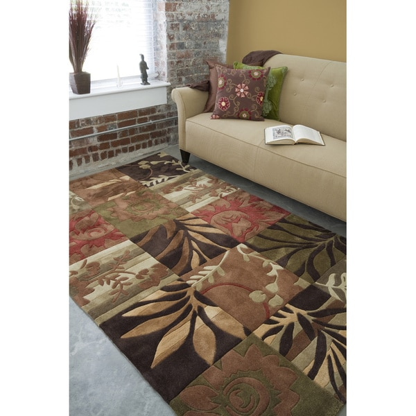 Hand-Tufted Green Floral Blocks Area Rug - 8' x 11'