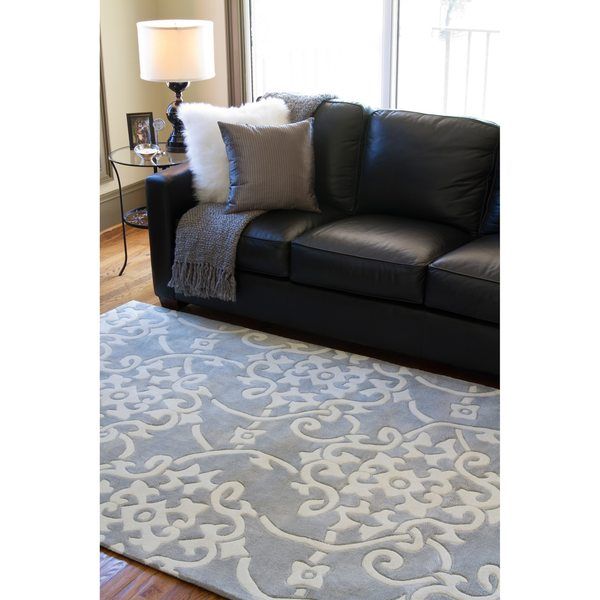Hand-tufted Grey Floral Area Rug