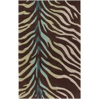 Hand-tufted Brown/Blue Zebra Animal Print Retro Chic Area Rug - 5' x 8'