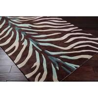 Hand Tufted Brown Blue Zebra Animal Print Retro Chic Area Rug 8